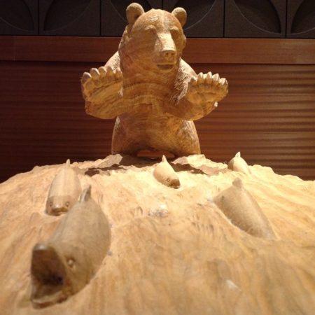 Wood carving bear of Akan Onsen