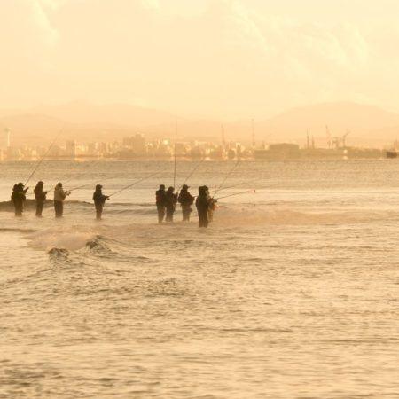 北斗市の鮭を待つ釣り人