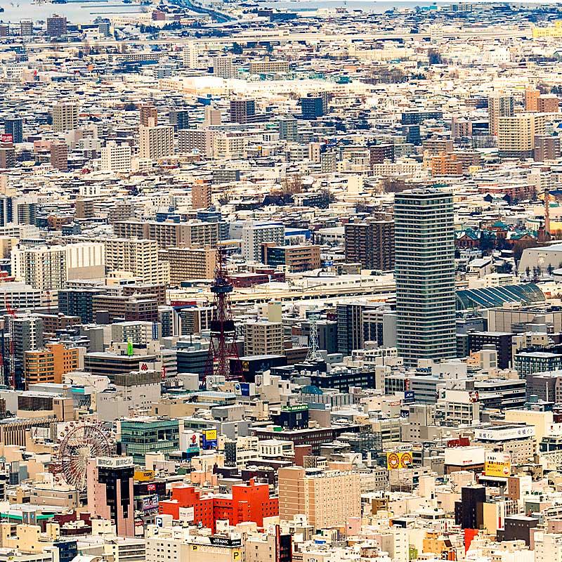 藻岩山から見た札幌の町並み