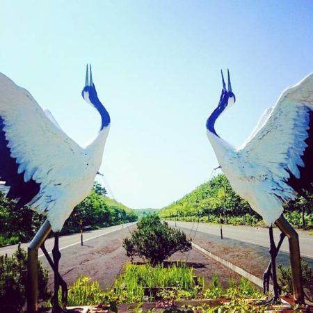 釧路市のタンチョウのオブジェ