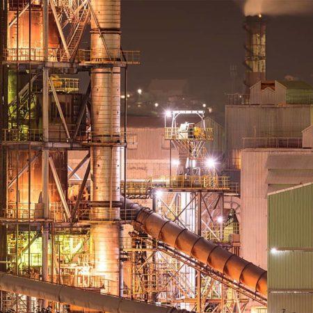 Steelworks at night in Muroran