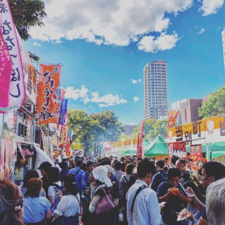 Crowded Sapporo autumn fest