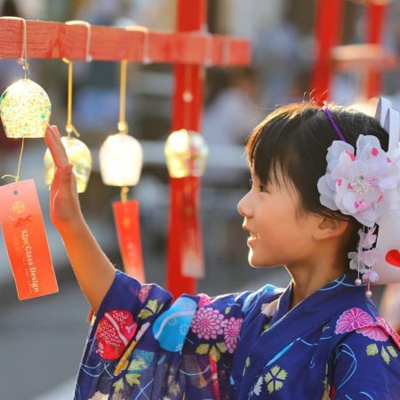 Wind bells and girl wearing yukata