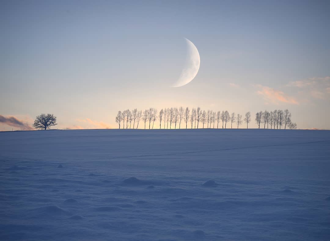 Beautiful sky and moon in Biei