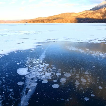 Ice bubble in Lake Akan