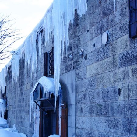 Icicles on warehouses along Otaru canal