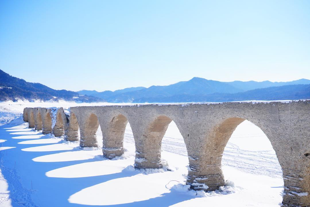 Taushubetsu bridges in winter