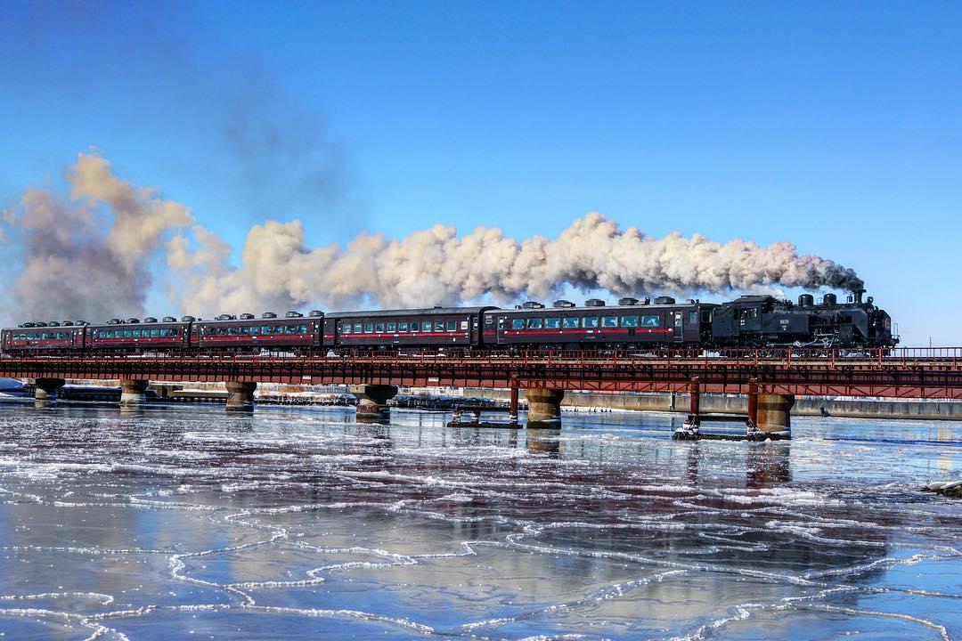冬の釧路で見たSL