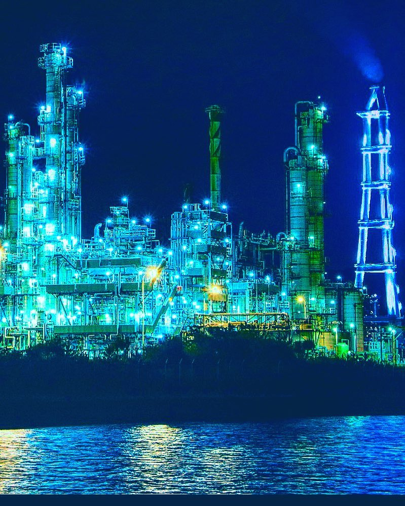 Factory-night view in Muroran