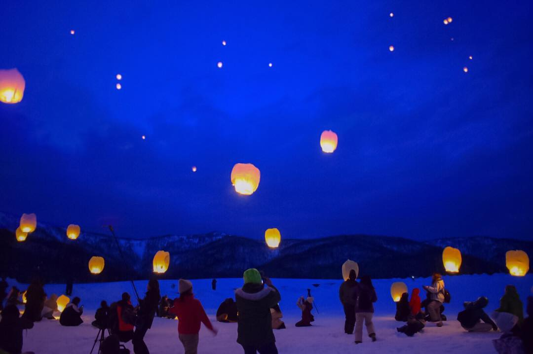 Sky lanterns-event in Asahikawa