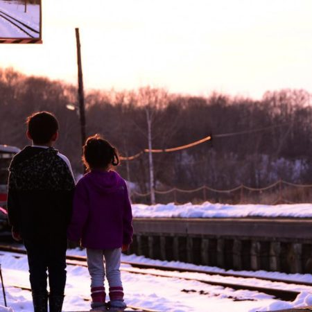 Children standing in station