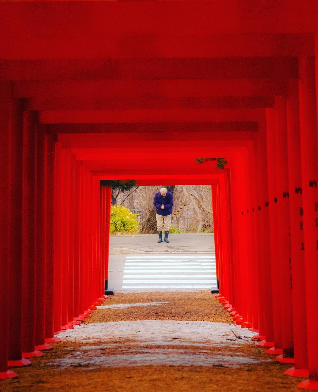 札幌伏見稲荷神社で祈る人