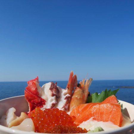 オホーツク海と海鮮丼