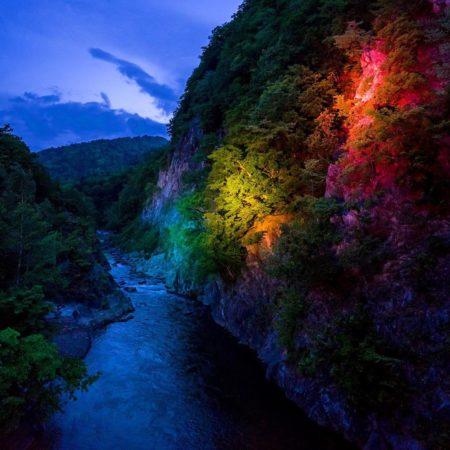 定山渓のライトアップ