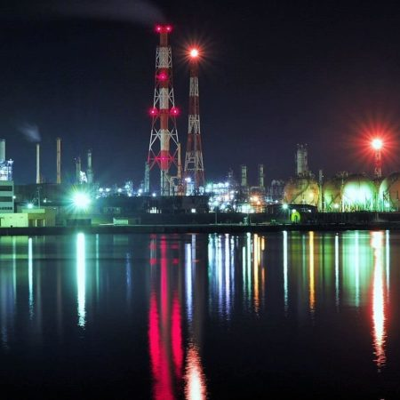 Night view of the factory zone in Tomakomai