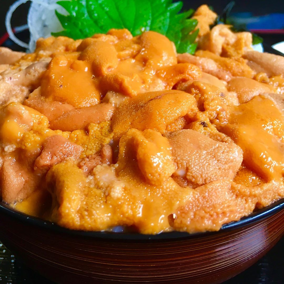 Bowl of rice topped with sea urchin in Shakotan