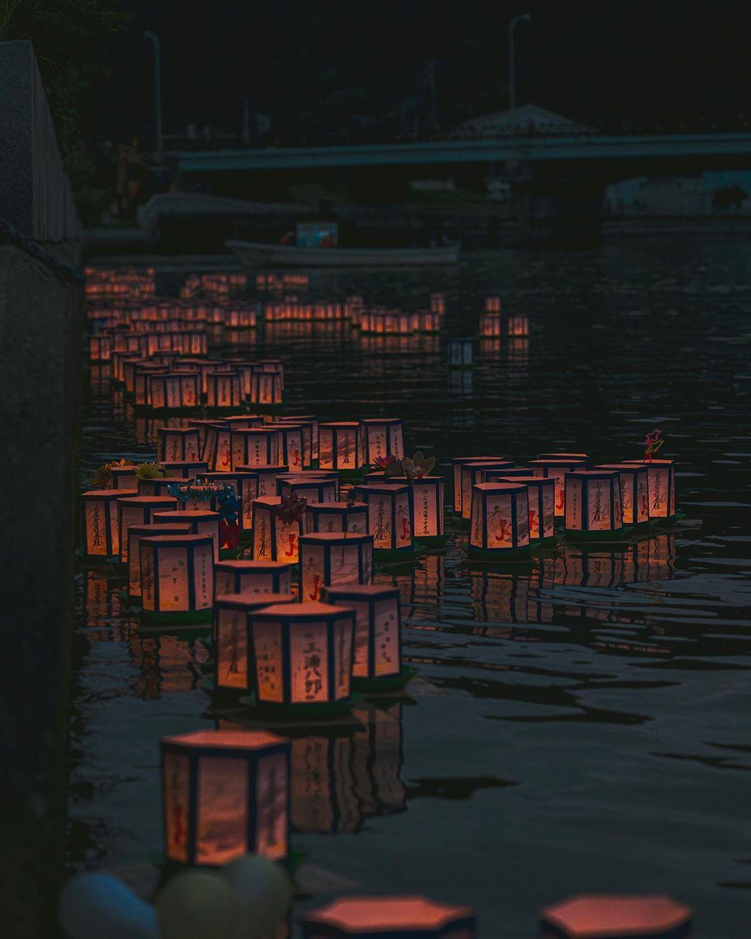 網走市の灯篭流し