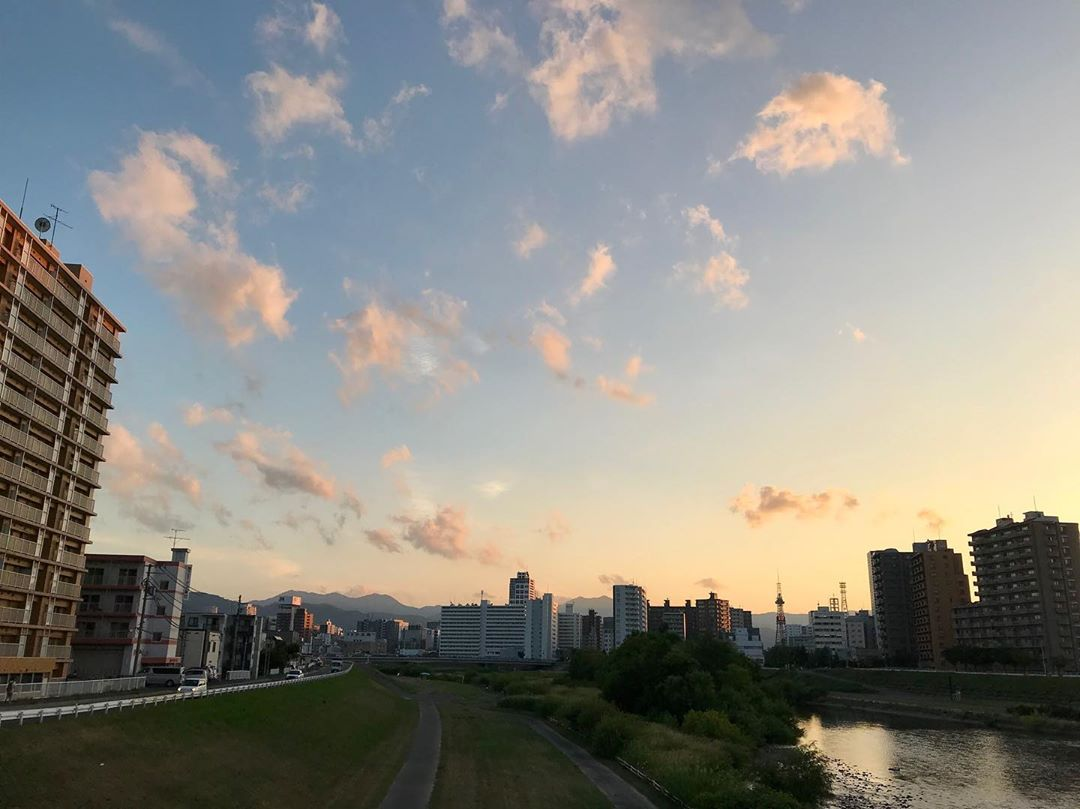 Evening sky and Toyohira River