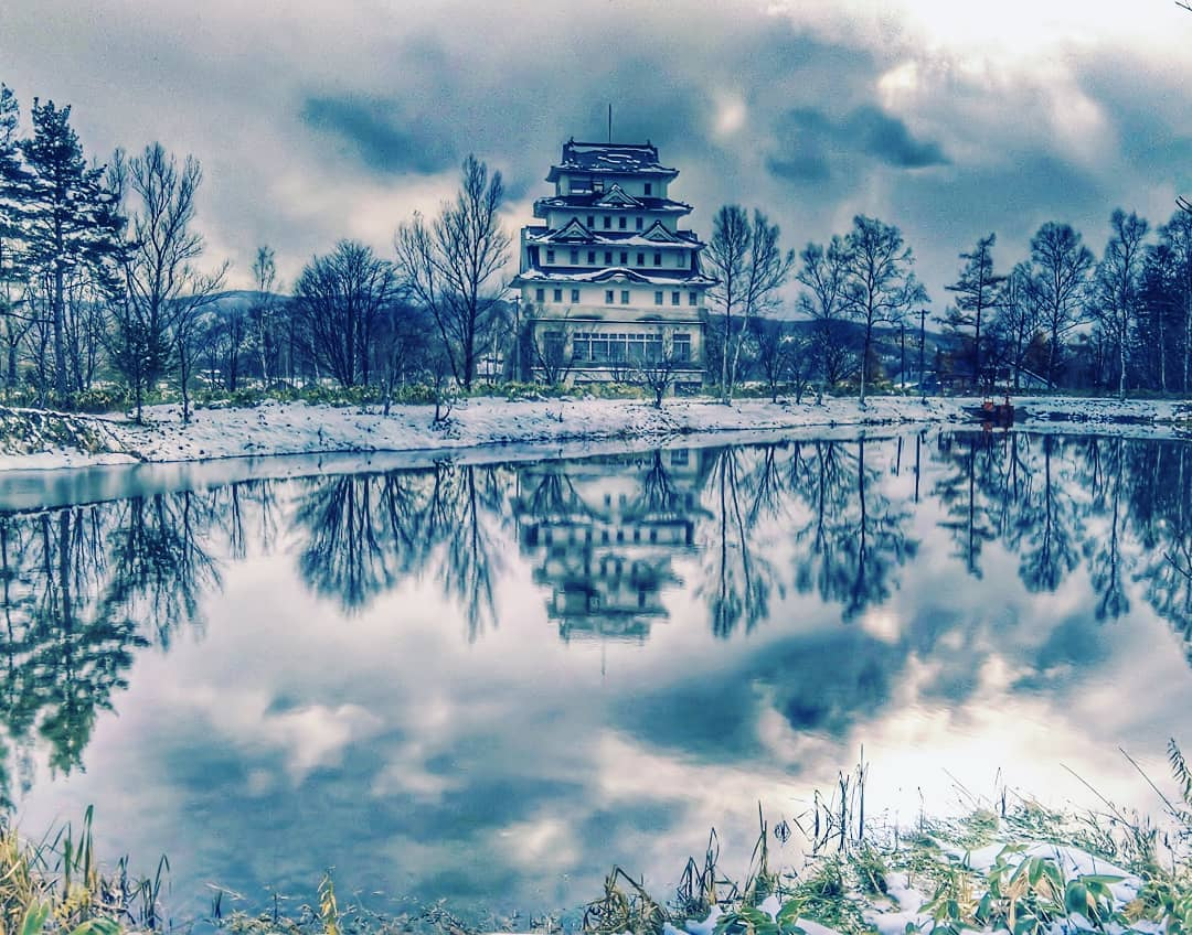 Castle and winter landscape in Akabira