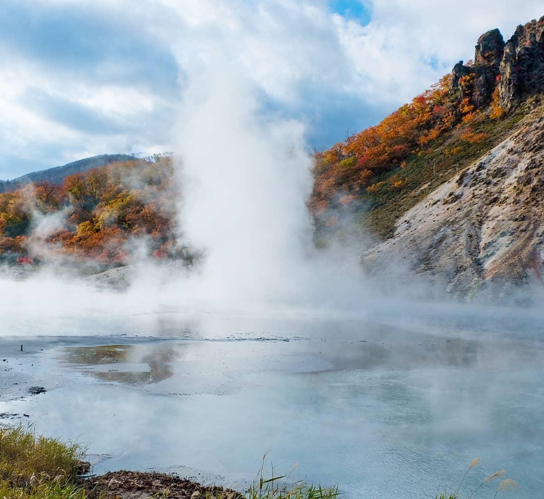 登別温泉の雄大な風景