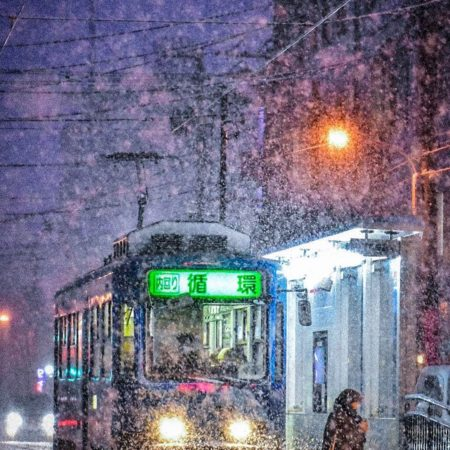 Street car and winter landscape in Sapporo