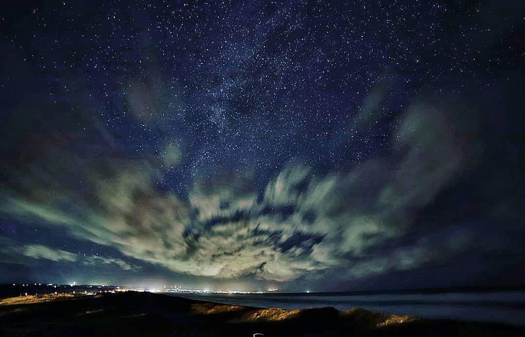 小清水町の幻想的な夜空