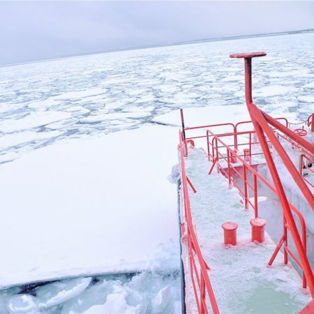 Majestic view of drift ice in Monbetsu