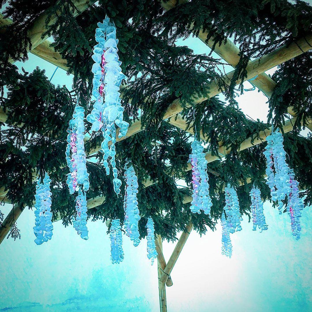 千歳市の美しい氷の藤棚