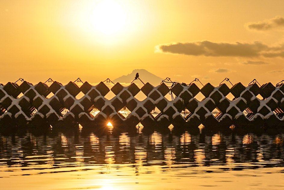 稚内市の幻想的な夕焼け