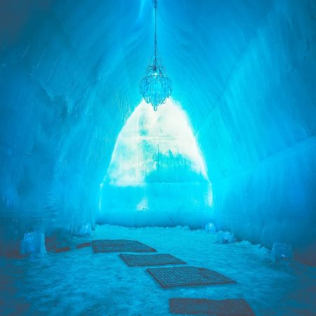 Mysterious ice cave in Lake Shikotsu