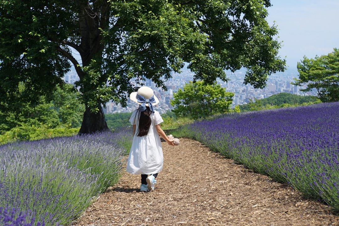Lavender and girl on Horomori Pass
