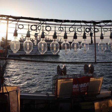 函館市のイカ釣り漁船