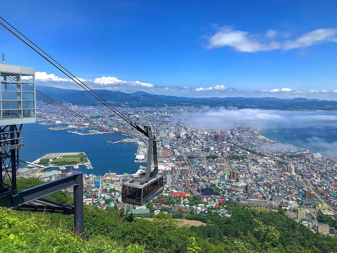 函館市のロープウェーと雲海