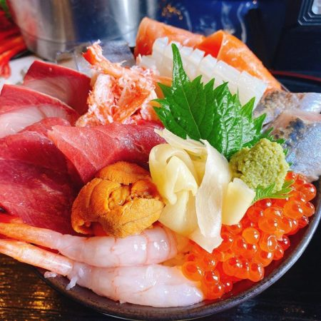 Colorful seafood bowl in Kushiro