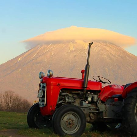 Mt. Yotei and tractor in Niseko