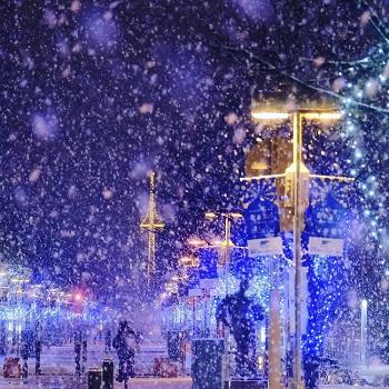 Illumination and snow in Asahikawa