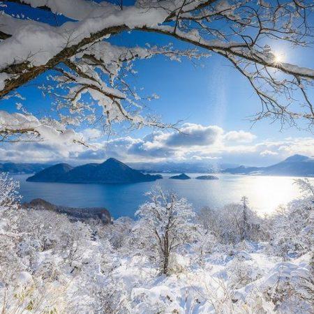 洞爺湖と樹氷