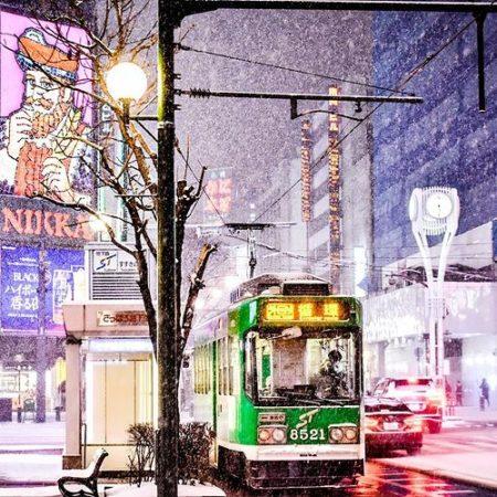 Streetcar and cityscape in Sapporo