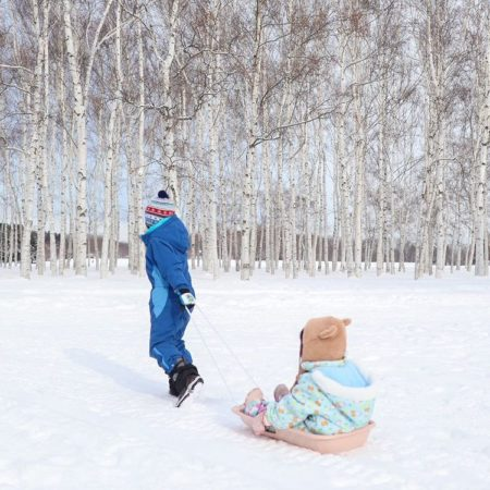 Sled and children in Sapporo
