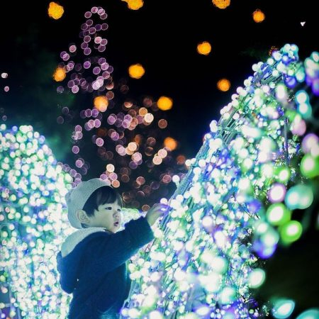 Illuminations and child in Sapporo