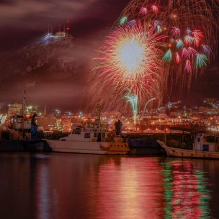 Scenery of the sea and fireworks in Hakodate