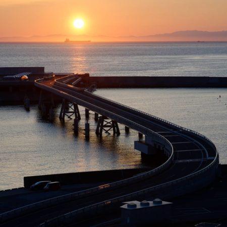 橋と夕焼け(室蘭市)
