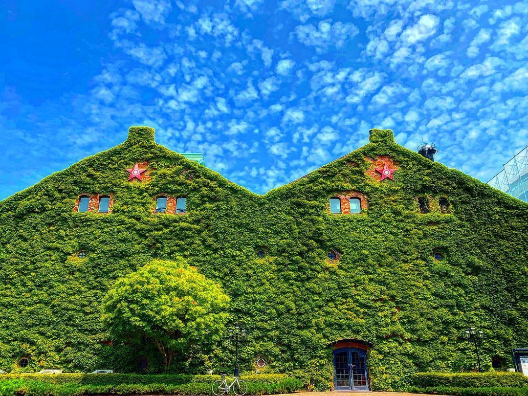 緑に包まれたサッポロファクトリー(札幌市)