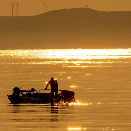 Kelp fisherman illuminated by the morning sun (Wakkanai)